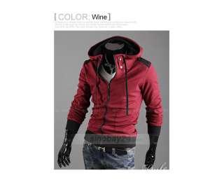 C41042 Mens Stylish Cotton Blends Smooth Zipper Long Sleeve Hoody