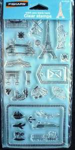 25pc. Clear Stamp Set~WISH YOU WERE HERE~ FISKARS