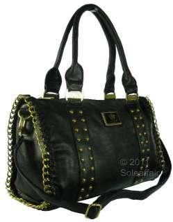 LYDC Designer Leather Style Stud & Chain Womens Handbag