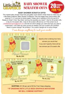 Winnie the Pooh Baby Shower Scratch Off Card Game Favor