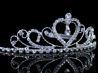 4cm High Heart Wedding Bridal Flower Girl Crystal Headband Tiara