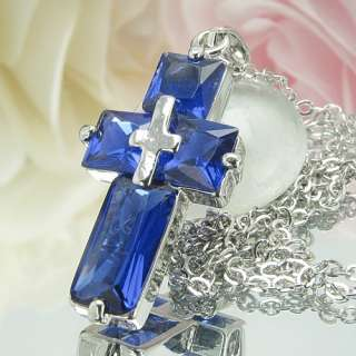 4x12~6mm Royal Blue Sapphire 18K White Gold Plated Cross Style Pendant