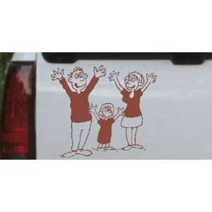 6in X 5.2in Brown    Mom Dad Daughter Family Decal Stick