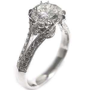 anillo de compromiso vintage de diamante antiguo de GIA de 2.61ct GVS