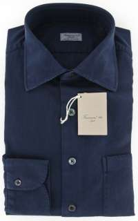 Imperfect $375 Finamore Napoli Navy Blue Shirt 16/41