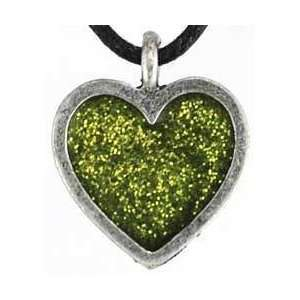 Love Light Amulet Green Glass Heart Charm Pendant Necklace