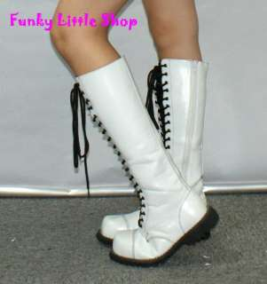 Punk Rock Emo Gothic White knee high boots EUR 34   44