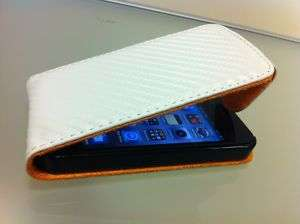 White Carbon Fibre Leather Flip Case Pouch For iPhone 4