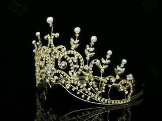 Pageant Rhinestones Crystal Pearl Wedding Tiara Crown 8420