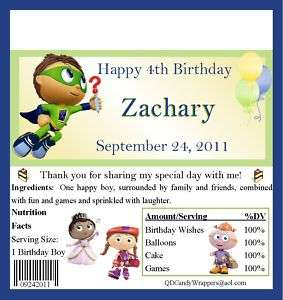 Super Why Candy Wrappers/Birthday Party Supplies