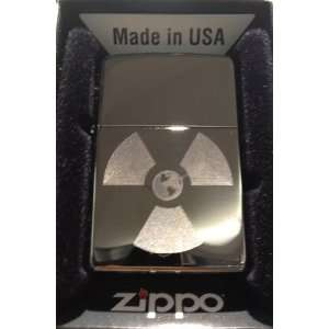 Zippo Custom Lighter   Radioactive Nuclear Earth Globe Logo Hi Polish