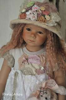 Pebble Beach~French Lace Dress, Teddy Bear & Hat Set 4 HIMSTEDT Doll