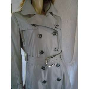 Burberry Isadora Shimmer Trench Rain Coat   Gray/Silver