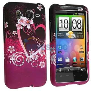 htc inspire 4g desire hd purple heart with flowers quantity 1 protect