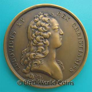 LUDOVICUS XV FRANCE FRENCH PERSEUS 41mm 36.5gr BRONZE MEDAL DUVIVIER