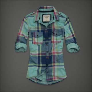 Abercrombie Fitch Women Turquoise Blue Plaid Button Down Shirt Top