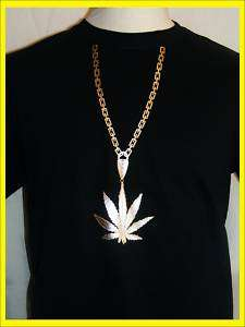 MENS WEED LEAF & GOLD CHAIN RHINESTONE DETAIL T SHIRT