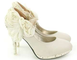 Wedding Shoes Ankle Knot Platform High Heel Lace Flowers Shoes#11