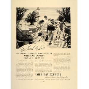 1937 Ad American Express Travel Service Tourists Cafe   Original Print