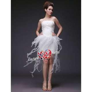 Column Strapless Short Satin Organza Wedding Dress