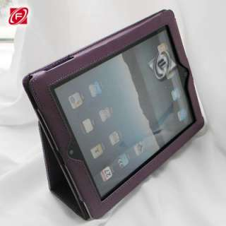 Leather Flip Stand Case Smart Cover F iPad 2 Hot pink