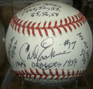 ERSKINE AUTOGRAPHED SIGNED MLB BASEBALL GAI COA STATS DODGERS