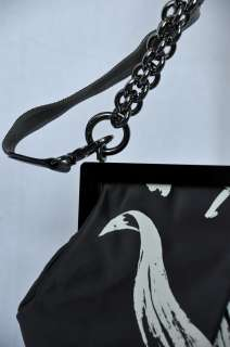 VERA WANG Large Black+White DUCHESSE SATIN*NIKI*Motorcycle Chain Bag