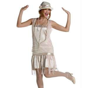 Roaring 20s * 1920s Party GANGSTER GATSBY GIRL   IVORY ADULT DRESS