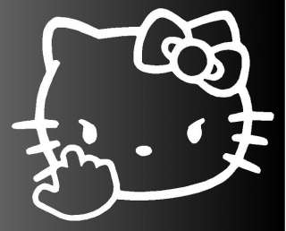 Hello Kitty Middle Finger Flipping Off Car Vinyl Window Decal Sticker