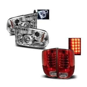 Dodge Ram 1500 Chrome LED Halo Projector Headlights + LED Tail Lights