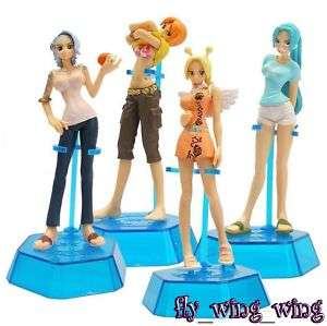 Anime One Piece Vivi Nami girl character figure set x 4