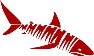 Tribal Shark Vinyl Die Cut Decal   18 colors