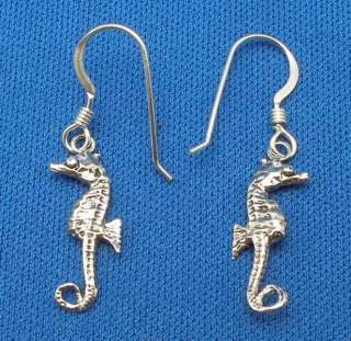 Seahorse Earrings, Scuba Skin Diver Jewelry, Sterling