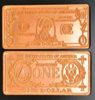 GRAM COPPER BULLION $1 US DOLLAR BILL BAR/ROUND .999