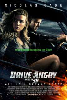 DRIVE ANGRY MOVIE POSTER DS 27x40 NICOLAS CAGE AMBER HEARD