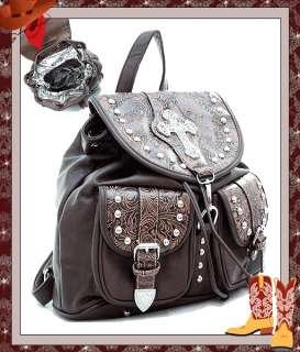 Western Cowgirl Rhinestone Cross Floral Embossed 2 Tone Backpack