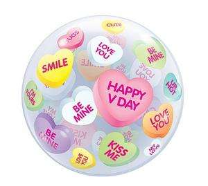 22 VALENTINES DAY CONVERSATION HEARTS BUBBLE PARTY BALLOON