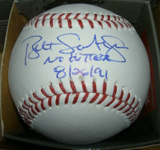AUTOGRAPHED SIGNED MLB BASEBALL WITH STATS NO HITTER 8/26/91