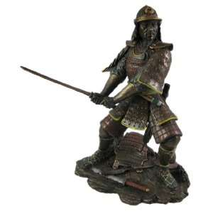 Bronzed Finish Battle Samurai Warrior Statue: Home & Kitchen