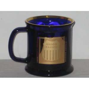 Union Pacific Railroad Railway Train Cobalt Blue Glass Mug w/ 22 Karat