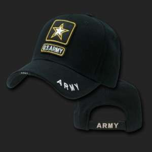 United States USA US Army Black Cap Caps Hat Hats Star