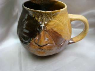 VINTAGE POTTERY COFFEE MUG CUP MOUSTACHE BEARD UNIQUE