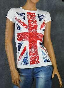 Ladies Glittery London Union Jack Flag T Shirts Free UK Post