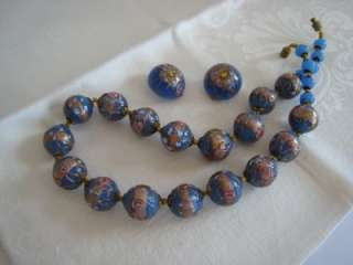 VINTAGE VENETIAN WEDDING CAKE BEADS BLUE GROUND PINK FLOWERS GOLD