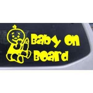 Yellow 26in X 13.6in    Baby On Board (Boy) Car Window Wall Laptop