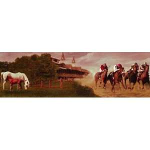 Equestrian Events II Mural Style Wallpaper Border Small  Horses Wall