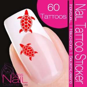 Nail Tattoo Sticker Turtle / Tortoise   red: Beauty