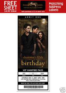 TWILIGHT NEW MOON MOVIE Birthday TICKET INVITATIONS