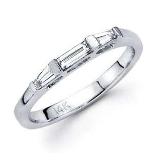 Diamond Wedding Band 14k White Gold Ring Bar Tapered Baguette 1/2 CT