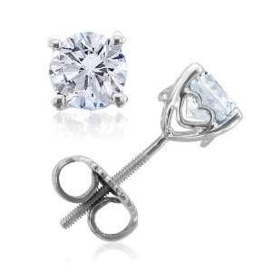 14k White Gold Heart Round Natural Diamond Stud Earrings (G, SI1, 0.30